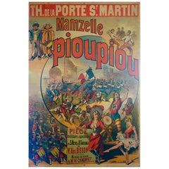 "French Poster for ""Mam'zelle Piou-Piou"", Théâtre Porte St Martin Paris, 1889"