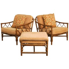 Pair of Bamboo Rattan Lounge Chairs by Brown Jordan