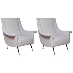 Pair of Fully Restored 1950s Italian Lounge Chairs in Luxe Alpaca Blend Boucle