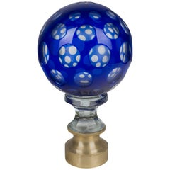 19th Century French Glass Boule d'escalier or Newel Post Finial