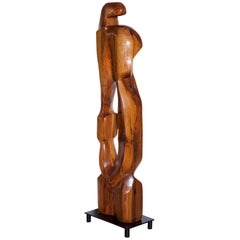 Large Abstract 1960s Pine Floor Sculpture, Signed Vancho