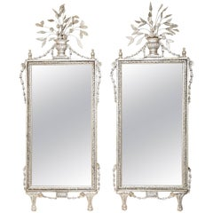 Large Pair of Italianate Silver Leafed Mirrors