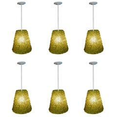 Six Contemporary Glass Flower Petal Pendant Lights