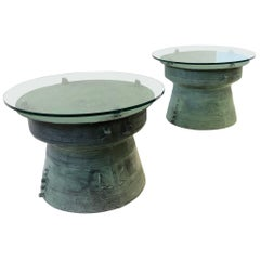 Pair of Bronze and Glass South Asian Rain Drum Tables