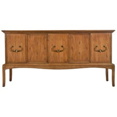 Horizon by Thomasville Decorative Abstract Stone Top Sideboard Walnut Credenza