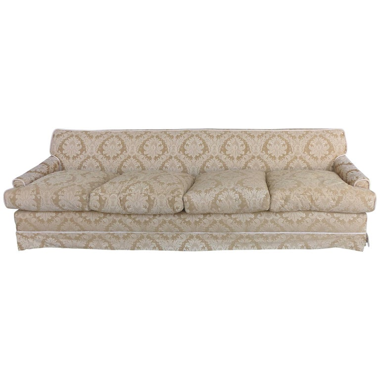 Damask Upholstered Plush Down-Filled Sofa with Rope Trim and Pleated Skirt