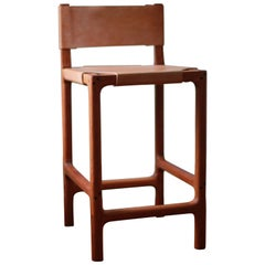 Reyes Counter Stool in Cherry with Russet Leather