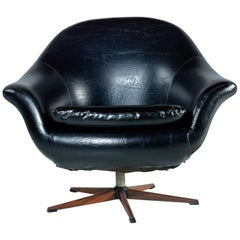 Mid-Century Modern Black Vinyl Swivel Pod Chair with Rosewood Base by Burris