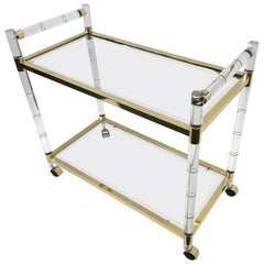 Italian Brass and Lucite Bar Cart in the Manner of Charles Hollis Jones