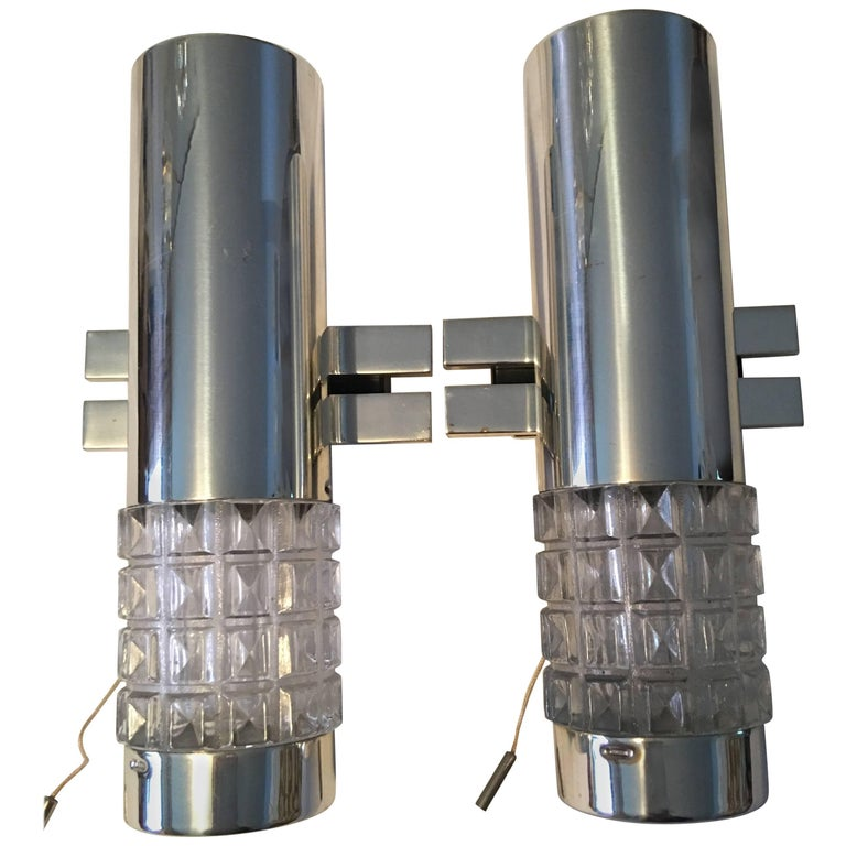 One Pair of 1960s Chrome and Glass Kaiser Sconces