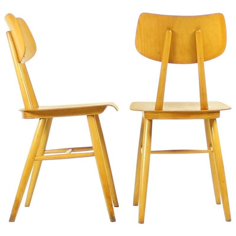 Midcentury Wooden Chairs in Wood by Ton, Czechoslovakia, circa 1960