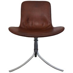 Poul Kjaerholm PK9 Chair in Leather and Chromed Metal, Kold Christensen, 1960s