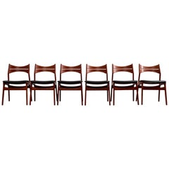 Model 310 Teak Dining Chairs by Erik Buck for Chr. Christiansen, Set of Six