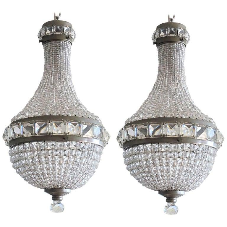 Pair of Crystal Chandeliers, Pendants