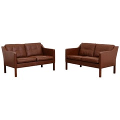 Børge Mogensen Model 2422 Fredericia Brown Leather Sofa or Loveseat, Set of Two