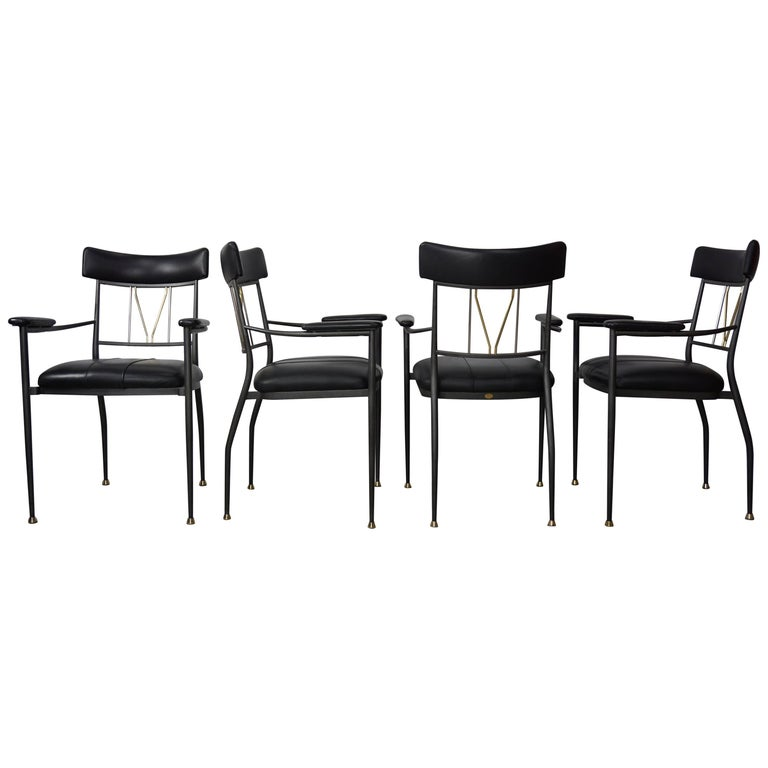 Black Leather, Metal, Chrome and Brass Set of Four Armchairs by Belgo Chrome