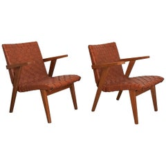 Jens Risom Pair of Leather Webbed and Oak Lounge Chairs, Knoll Int, France 1950s