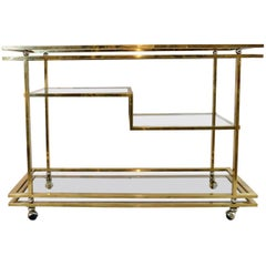 Large Four-Tiered Bar Cart in Brass, Italy