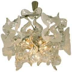 Large Kalmar, Catena Murano Glass Chrome Chandelier, 1970s