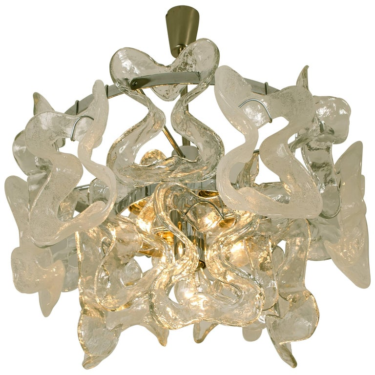 Large Kalmar, Catena Murano Glass Chrome Chandelier, 1970s For Sale