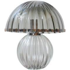 1970s Italian Murano Smoked Glass Mushroom Table Lamp