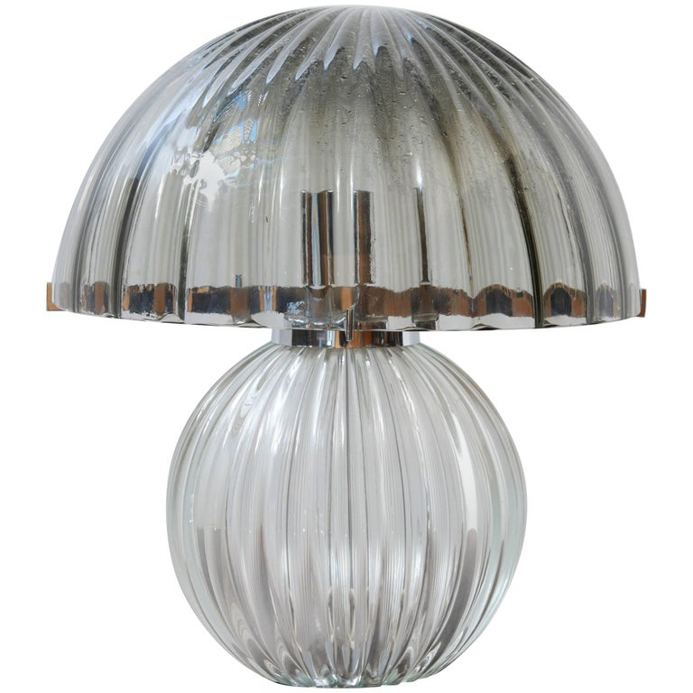 1970s Italian Murano Smoked Glass Mushroom Table Lamp