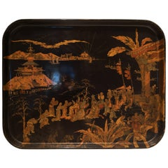 19th Century Chinoiserie Tray Black with Gold Detailing