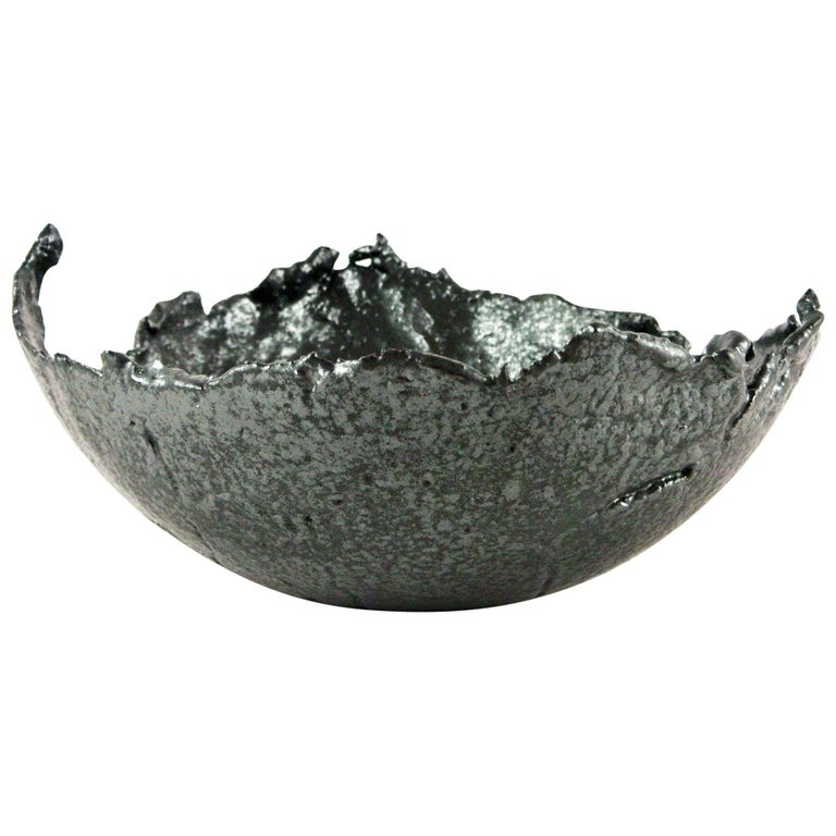 Contemporary Grey Stoneware Bowl with Black Silvery Glaze