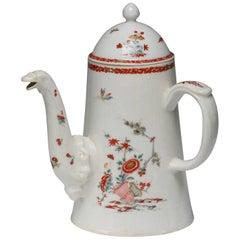 Lighthouse Coffee Pot, Kakiemon Decoration, Bow Porcelain Factory, circa 1750
