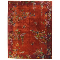 20th Century Red In Wool Art Deco Nichols Design Chinese Rug, 1920-1940