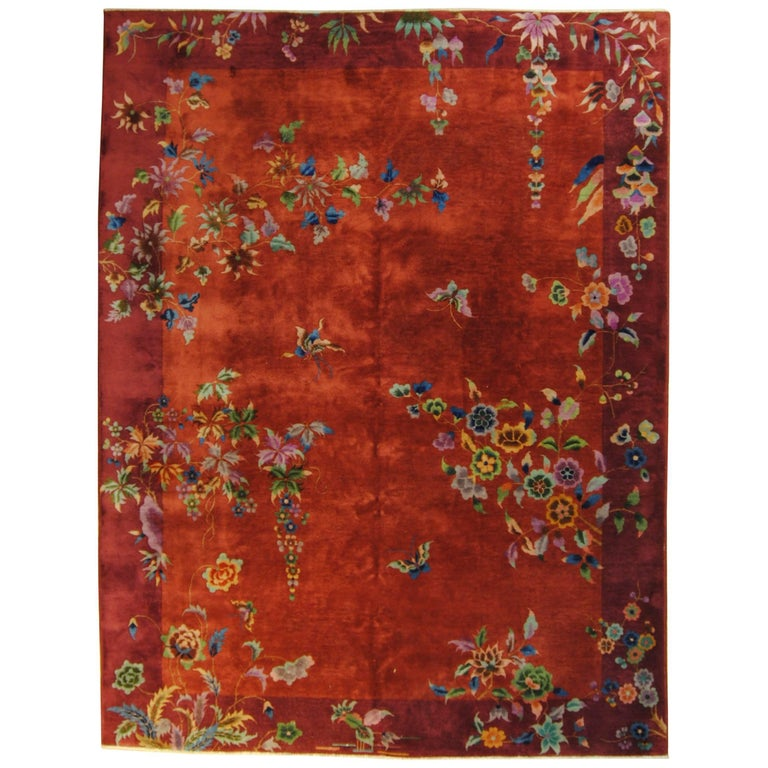 Nichols Art Deco Chinese Rug Hand Knotted in Wool Red and Violet, 1920-1940
