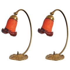 Pair of Art Deco Brass Table Lamps with French Pâte de Verre Glass Shades
