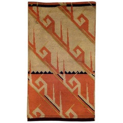 1920-1940 France European Art Deco Rug Hand-Knotted in Wool Orange White