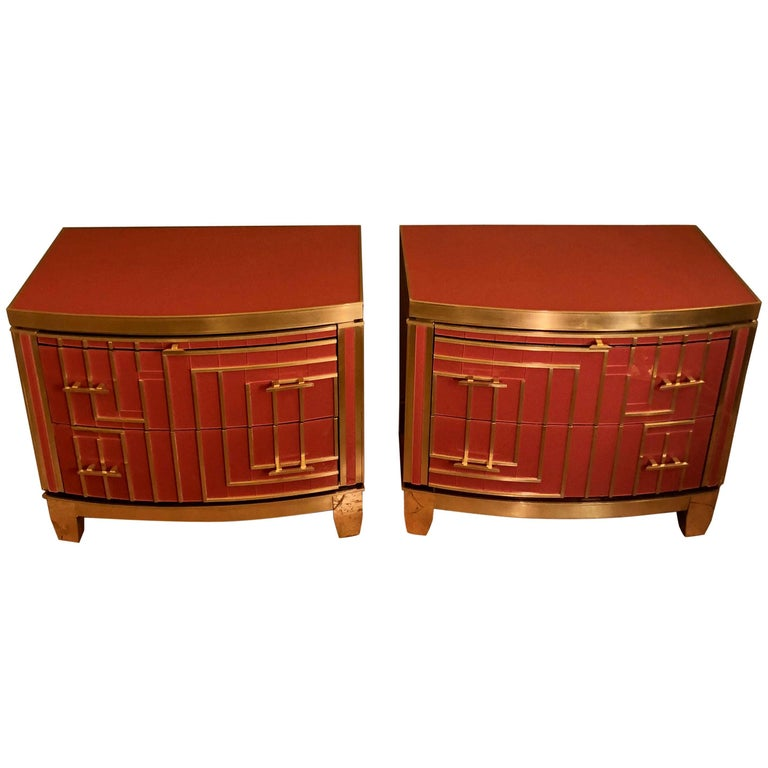 Late 20th Century Pair of Small Chest of Drawers in Red Coral Glass/Wood & Brass