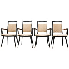 Set of Four Italian Mid-Century Modern Armchairs Gio Ponti Style, 1950s