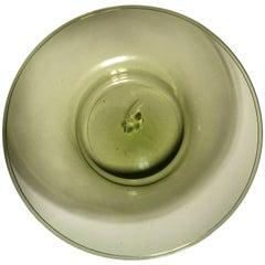 Midcentury Round Venezia Murano Green Glass Dish