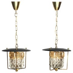 Mid-Century Modern Brass and Faceted Glass Lantern Pendants, 1960s, Italy