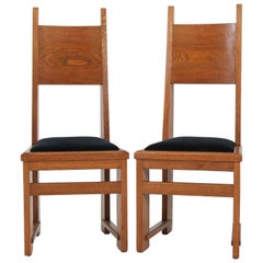 Pair of Oak Dutch Art Deco Haagse School High Back Chairs by Henk Wouda, 1920s