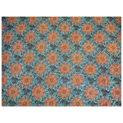 Flower Blockprinted Cotton Quilt Section antique French early 19th century