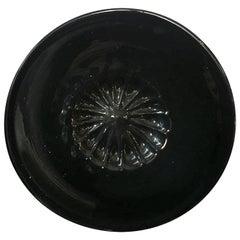 Midcentury Murano Black Round Glass Dish