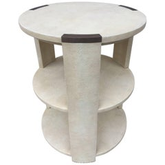 R&Y Augousti Shagreen Bronze Mount Three-Tier Table