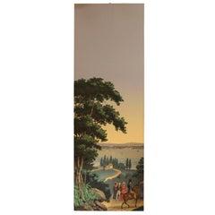 Zuber 19th Century Two Panels Multicolored Wallpaper Depicting a Gallant Scene