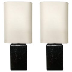 Contemporary Set of Two Black Marquina Marble Italian Modern Design Table Lamps
