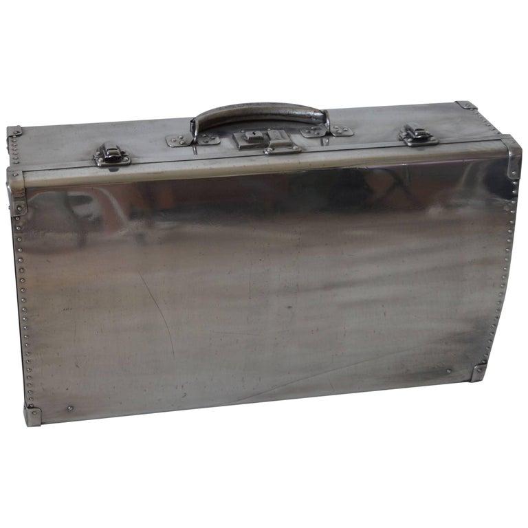 Polished Aluminium Suitcase, English, 1940s