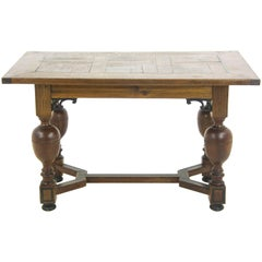 Antique Desk, Writing Table, Hall Table, Oak Parquetry, Germany, 1920
