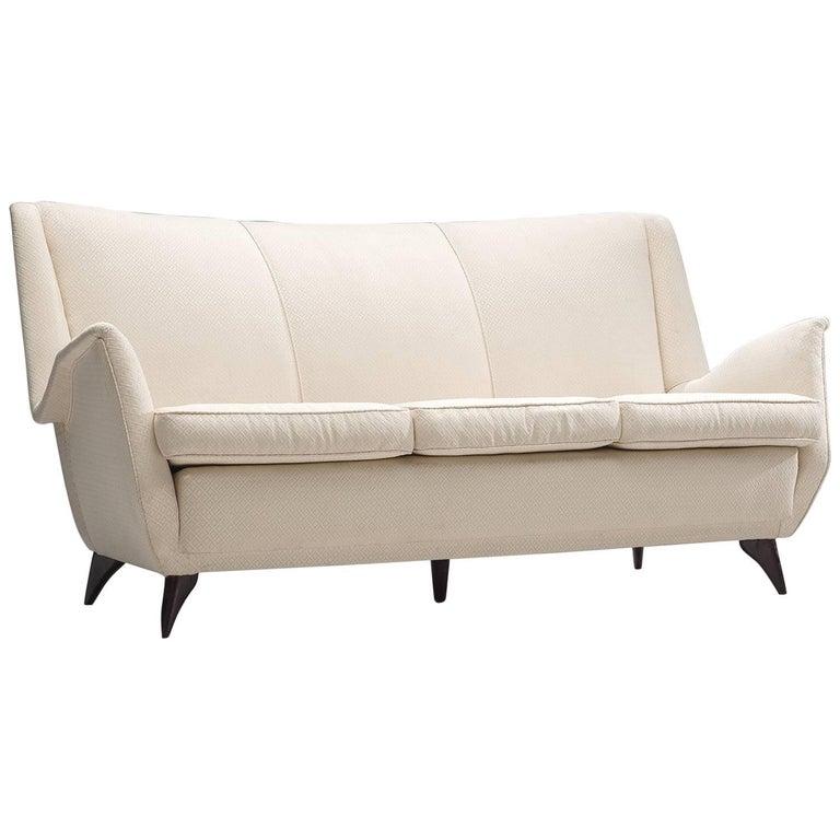 Italian Sofa in White Fabric, 1950s