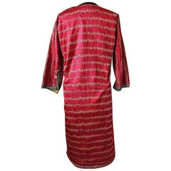 Early 20th Century Aleppo Red Silk Ikat Coat