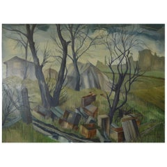 Untitled. Chaotic Landscape. Acrylic on Board R.Melsome, 1966