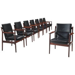 Arne Vodder for Sibast Set of Black Leather and Rosewood Dining Chairs