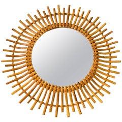 1950s French Saint Tropez Riviera Rattan Sunburst Mirror